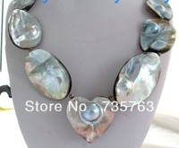 00575 Gray Blue Rainbow Mabe Blister Pearl Necklace Heart Pendant