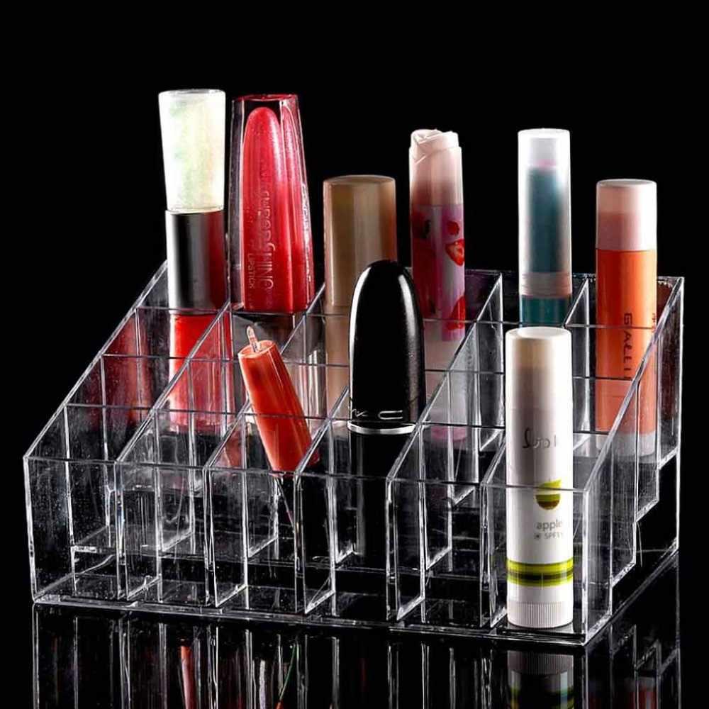 Organizador de maquillaje acrílico elegante almacenamiento lápiz labial maquillaje esmalte de uñas estuche protector expositor 4 capas 24 Lattic Jewelry Stand