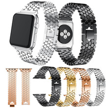 Fashion Scales linesfor iWatch Link buckle Octagon Stainless Steel Strap bracelet band For Apple watch38/42/40/44 Series 1/2/3/4