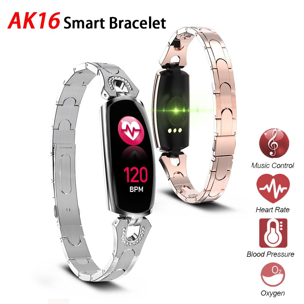 Ak16 Women Smart Band Fitness Bracelet Heart Rate Monitor Blood Pressure Watch Fitness Tracker Pk H8 H1 H2 Smart Bracelet Band in Smart Wristbands from Consumer Electronics
