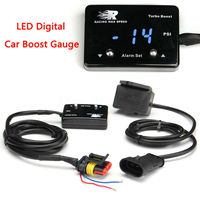 Universal Blue LED Digital Display 14PSI~40PSI Car Turbo Boost Pressure Gauge Plastic Material Black Color 4.8x3.2x1.2cm