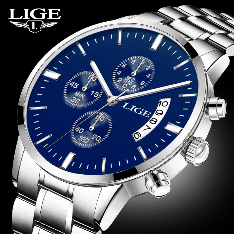 LIGE Mens Watches Top Brand Luxury Men Fashion Business Quartz Watch Man Stopwatch Waterproof Sport Clock relogio masculino+box curren watch men 2017 mens watches top brand luxury quartz watches man fashion cusual sport business clock men relogio masculino