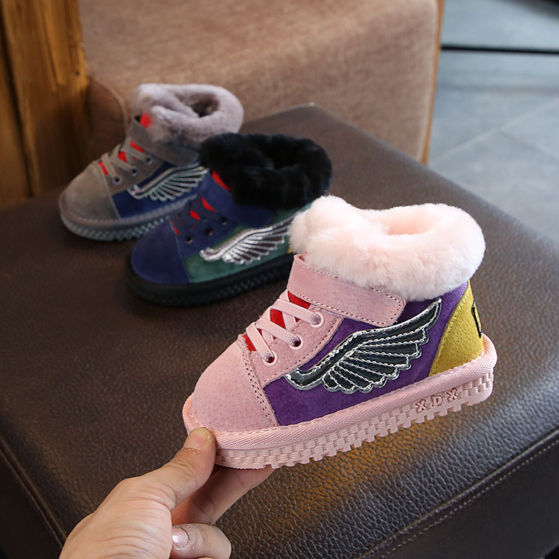 Children Shoes New Winter Boots Cotton Shoes Leather Hook&loop Baby Shoes with Velvet Plush Warm Snow Boots Kids Booties