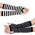 Mulheres luvas de inverno listrado longa seção mão pulso braço luvas Warmer malha luvas sem dedos luva de algodão venda