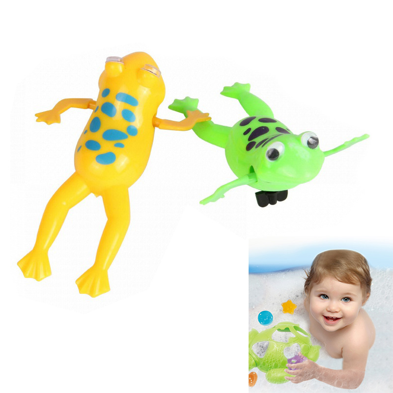 Baby Kids Bath Toy Clockwork Wind Up Plastic Swimming Frog Pool Bath for Kids