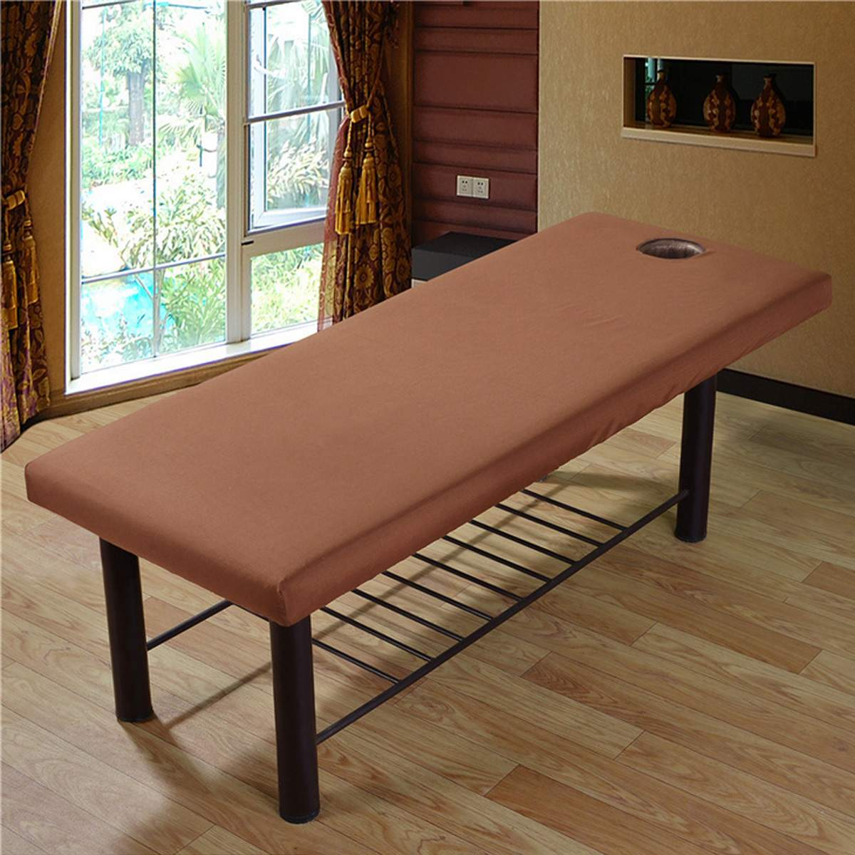 Soft Polyester Massage Bed Cover Beauty Salon Massage Sheet Body SPA Treatment Relaxation Bedsheet With Face Breath Hole 8