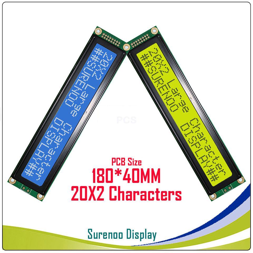 Larger Character 202 20X2 2002  LCD Module Display Screen LCM  Yellow Green Blue With LED Backlight