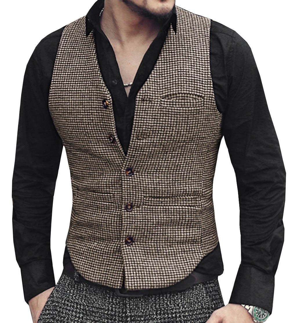 Mens Suit Vest V Neck Wool Brown Single-breasted Houndstooth Waistcoat Casual Formal Business Groomman For Wedding