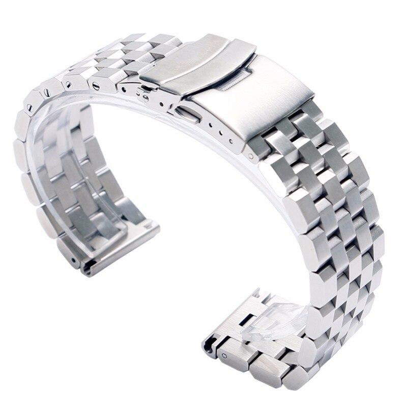 HQ 20mm 22mm Argent/Noir Solide acier inoxydable bracelet de montre Bracelet fermoir pliant avec Sécurité Lien Pour Hommes montre femme Remplacement