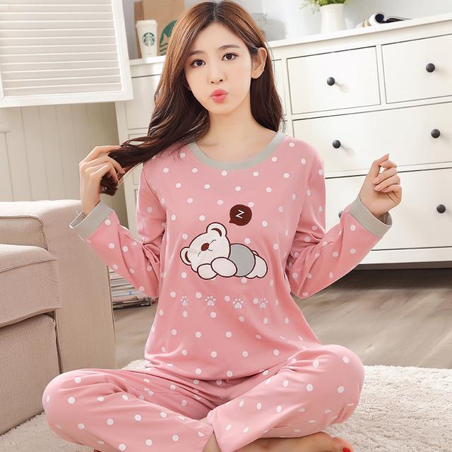 LIKEPINK 2016 Invierno Mujeres de Los Pijamas de Algodón Pijamas Mujer Pijamas de Manga Larga Ropa de Dormir de la Historieta del Patrón del Oso M ~ XXL