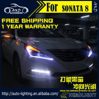 AKD Car Styling Headlight Assembly For Hyundai Sonata Headlights Bi Xenon LED Headlight LED DRL HID