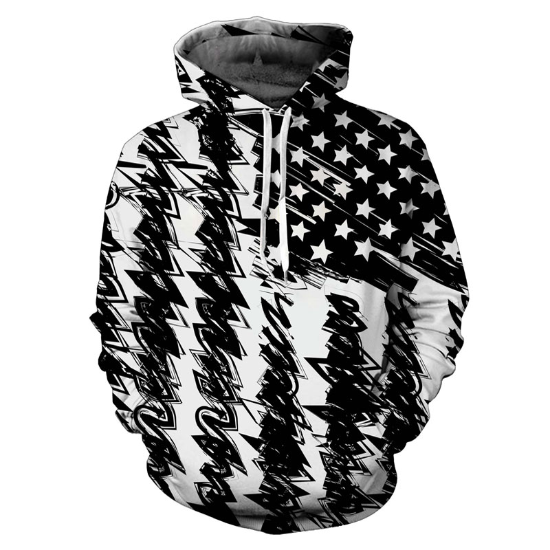 Headbook New Fashion Hooded Sweatshirt Women/Men Hooded Hoodies 3d Print Black White USA Flag Unisex Pullovers 17071002