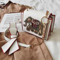 Corrente crossbody bags for women 2019 bolsas de luxo bolsa feminina designer elefante bordado bolsa de ombro couro feminino aleta tote