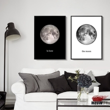 Posters Wall Art Printed Canvas Painting For Living Room Nordic Decoration Earth Moon Luna Dandelion Decor Picture