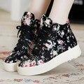 Мода Марка 2016 Женщины Холст Обувь Зашнуровать Дышащий Весна Осень Женщины Повседневная Обувь Цветочные Дамы Обувь Для Ходьбы