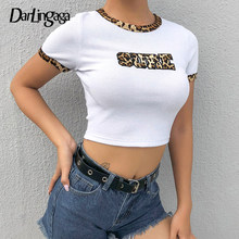 Darlingaga Leopard Print Cropped Summer Female T-shirt Letter White Crop Top Ringer Tee Shirt Femme Short Bodycon Tshirt Clothes(China)