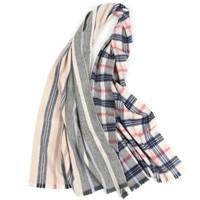 100%wool women thick England style striped plaid scarfs shawl pashmina 52x180cm small tassel grey camel multi color