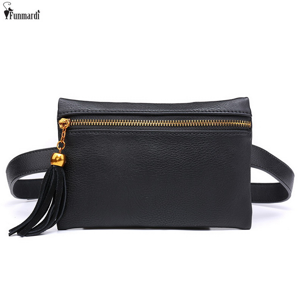 FUNMARDI Vintage PU Leather Waist Bags New Travel Waist Packs For Women Money And Phone Belt Bags Fashion Mini Bags WLAM0145