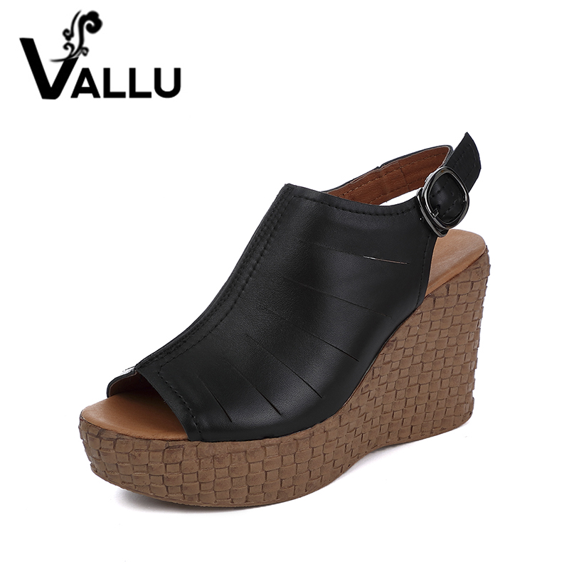2017 Summer Genuine Leather Shoes Women Wedges Sandals Platform Peep Toes Buckle Back Strap Gladiator Sandals phyanic 2017 gladiator sandals gold silver shoes woman summer platform wedges glitters creepers casual women shoes phy3323