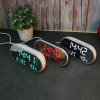 2018 New Multi Function High Definition LED Thermometer Car Clock Hygrometer Mirror Alarm Clock Gift For Children 5.24