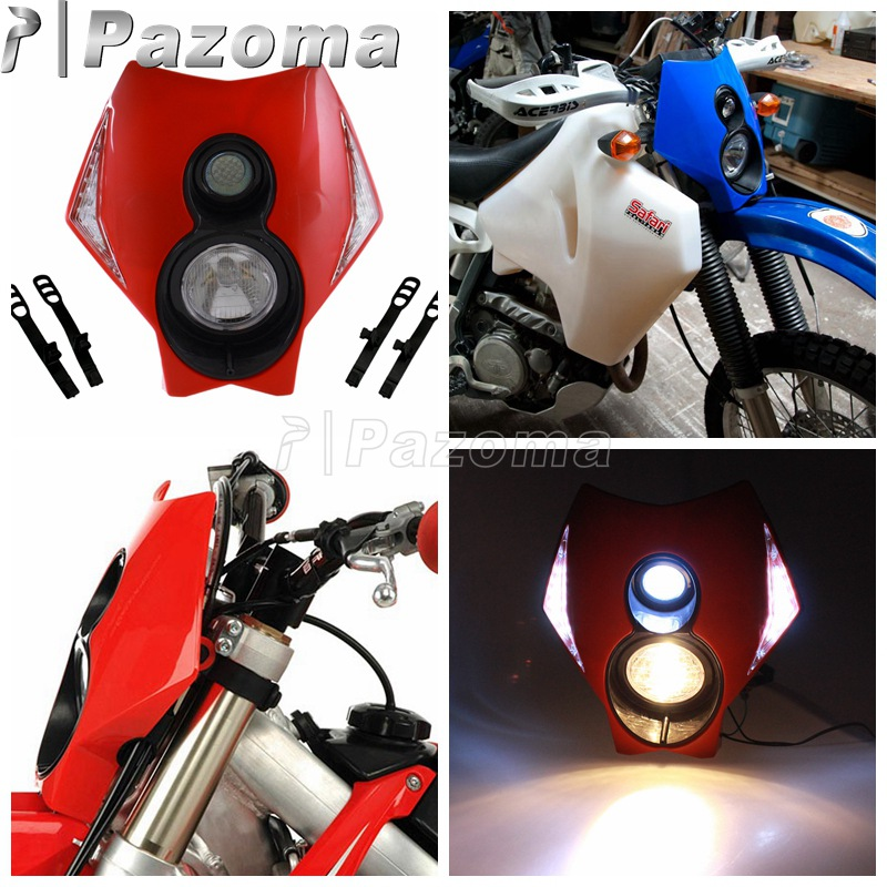 Motorcycle Two Torch Red LED Headlamp Universal Motocross Off-Road Halogen Headlight for Honda XR CRF CRM CRM 250 450 650