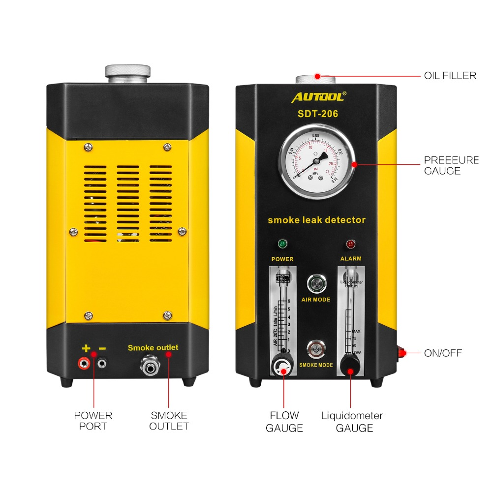 2019 Upgraded SDT206 Aotomotive Smoke Machine with Air Pressure Leak Detector Car Trucks EVAP Detect Pipe Smoke Leakage Analyzer