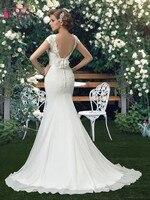 Goereous Mermaid Wedding Dress Cap Sleeves Backless Chiffon Court Train Trumpet Wedding Bridal Gowns vestido de