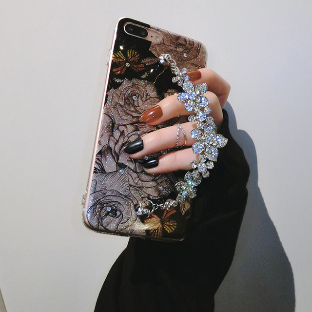 Luxury Cute Diamond Flower Rose Bracelet Cover Case For iPhone 6, 6s, 7, 8, 7/8 plus, X 3