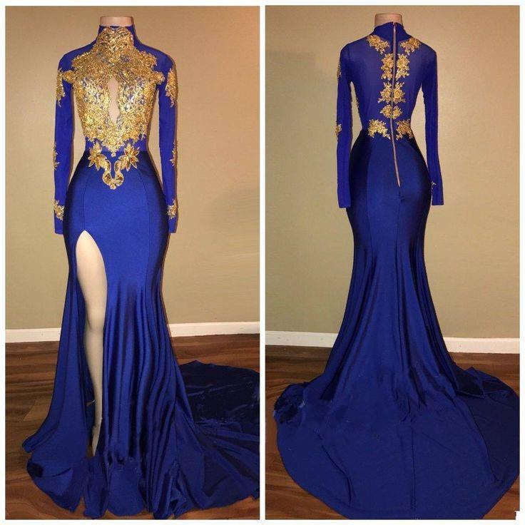 High Neck Royal Blue Prom Dresses with Slit Long Sleeves Slim Fit Prom Gowns with Gold