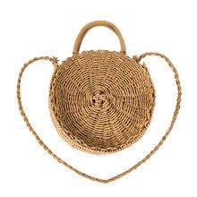 Handbag Vintage Handmade Rattan Woven Round