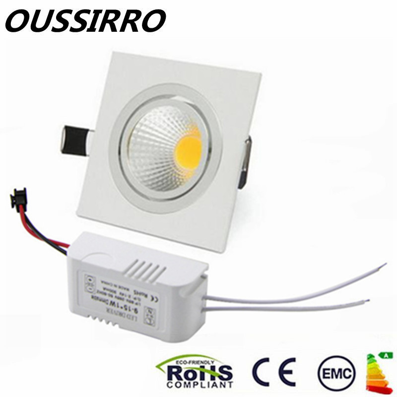 10pcs Square LED COB Downlight Recessed LED Dimmable 6W 10W 14W LED Spot Ligh