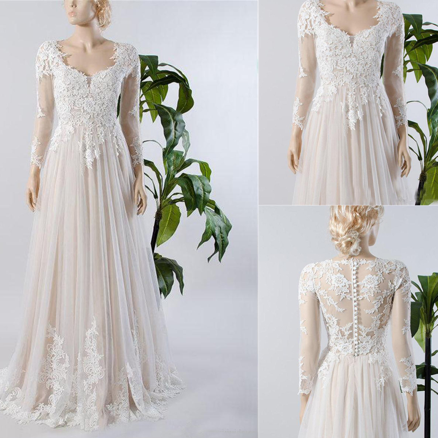 Illusion Sheer Button Back Champagne Lining Inside Beach Bridal Gown A Line Long Sleeve Lace Tulle Wedding Dress