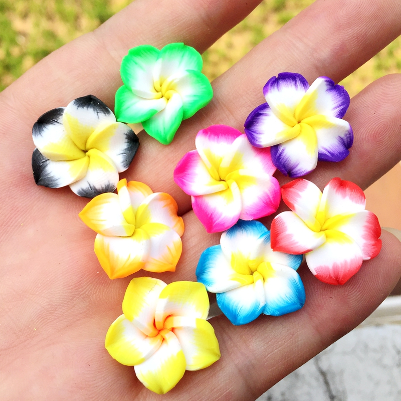 Home & Garden Tireless 10pcs 19mm Colorful Loose 3d Polymer Clay Beads Flower/plumeria Rubra Design For Diy Jewelry Making Great Varieties Apparel Sewing & Fabric