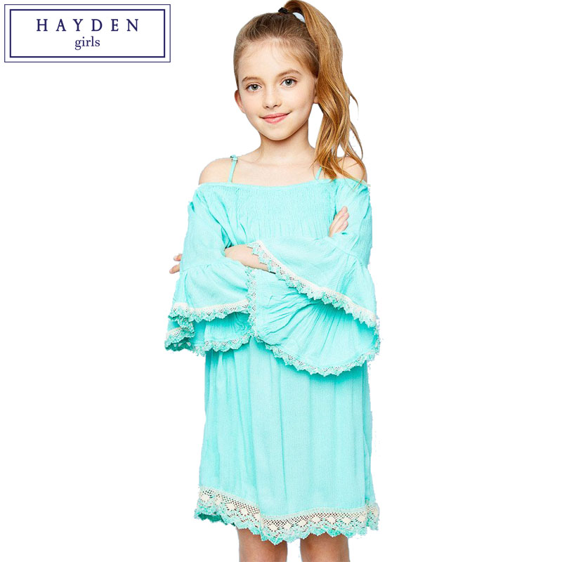 HAYDEN Girls Off Shoulder Dress Kids Boho Dresses Chic Hippie Bohemian Clothing Brands Dress for Teenage Girl Age 7 to 14 Years wireless receiver mirror monitor diy back up parking system for toyota sportsvan 3 in1 special rear view camera