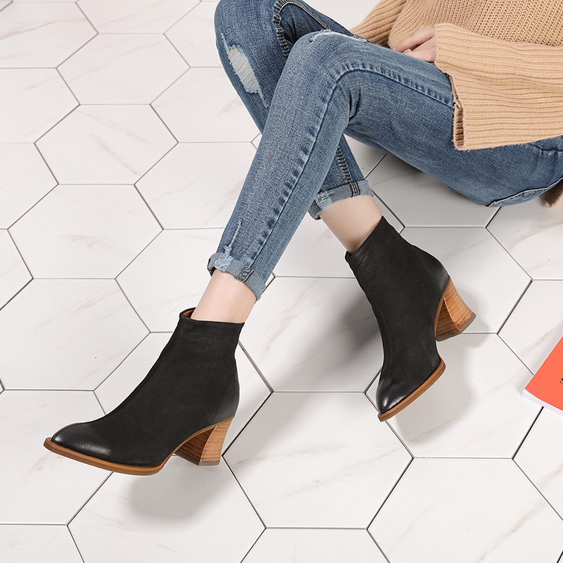 2018 Autumn Winter Pointed Toe Shoes Women Ankle Boots Handmade Block Heels Genuine Leather Snow Boots Ladies Warm Boots