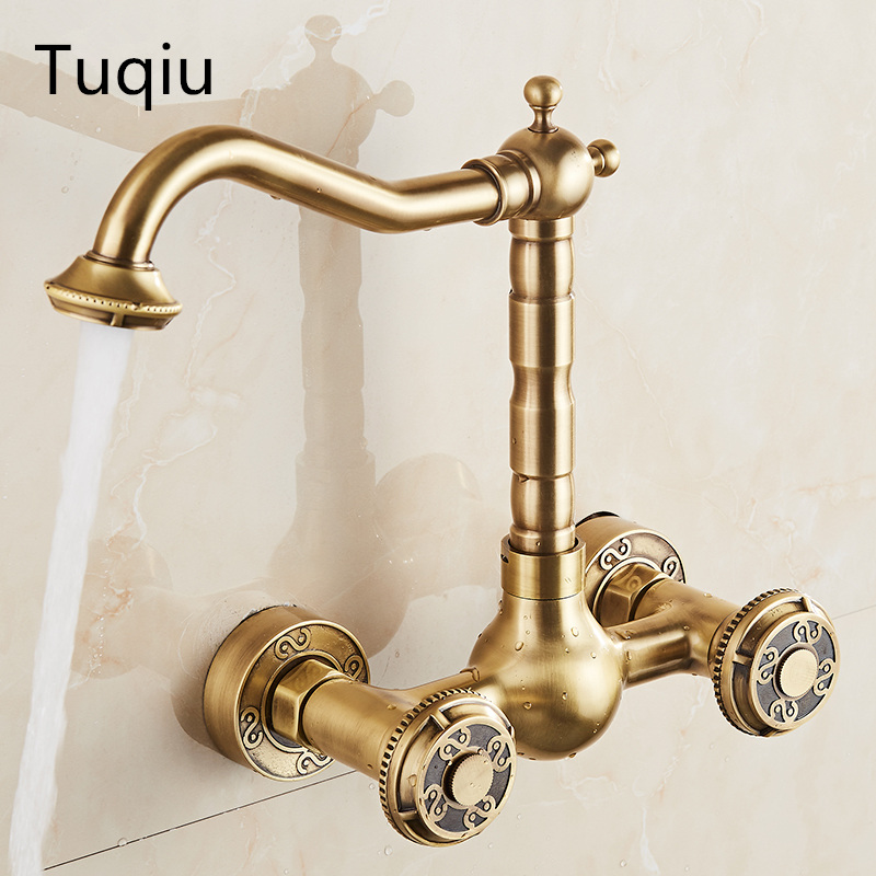 brass material wall mounted antique kitchen faucet hot and cold single lever kitchen sink tap basin faucet mixer basin faucet kitchen faucet basin hot