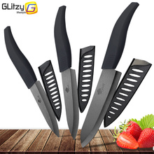 Ceramic Kitchen Knife 4 5 6 inch Zirconia Black Blade Chef Slicing Knives Tools Colorful Handle Set of 3 Cutter