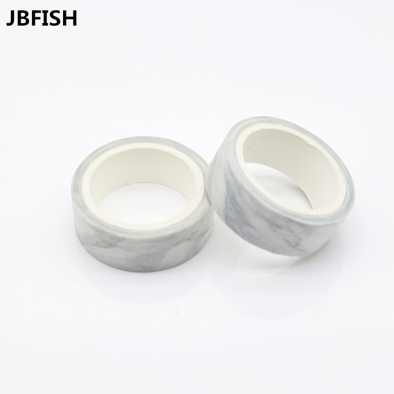 JBFISH Japanese Paper Marble Washi Tape White Paper Masking Tapes Adhesive Tapes Stickers Decorative Stationery Tape 8091 1pc black and white grid washi tape japanese paper diy planner masking tape adhesive tapes stickers decorative stationery tapes