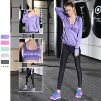 New Korean yoga suit female three piece suit breathable and quick dry sports fitness suit wholesale Exercise Sets Running suit