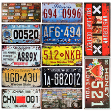 SPM-111 Vintage Car License Plates Decorative Metal Tin Signs Shabby Chic Home Pub Bar Motorcycle Decor USA Iron Plaque 30x15cm