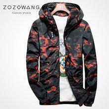 Zozowang print camouflage hooded rib sleeve zipper casual fashion tide jacket men sunscreen coat spring autumn
