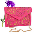 2017 women shoulder bag chain bag small purses and handbags cutout rose red candy color crossbody bags for women messenger bags