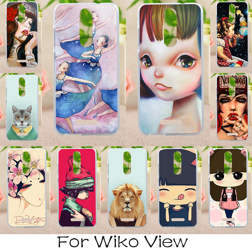 AKABEILA Soft TPU Phone Cover Case For Wiko View 5.7 inch Covers Painted Cases Back Hosuings Litter Girls Bags