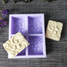 New Silicone soap mold 4-cavities square ripple silicone emboss decoration Mold for making DIY clay
