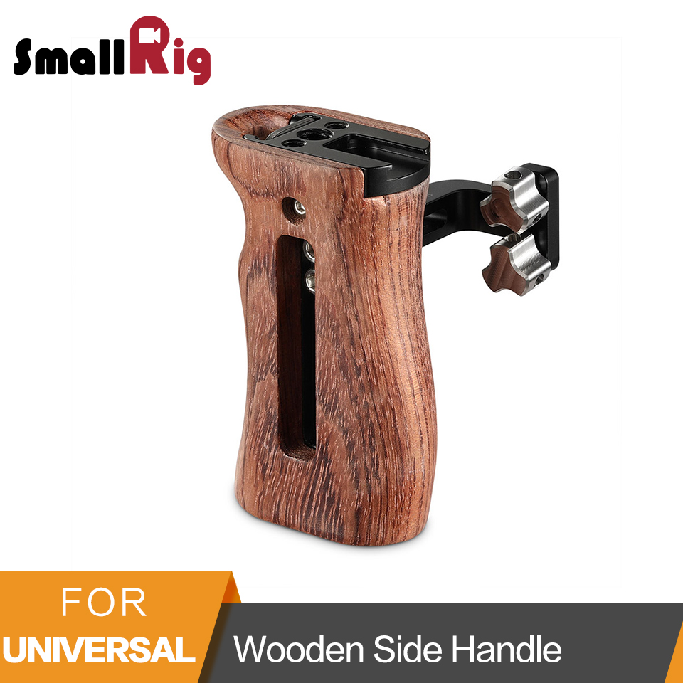 SmallRig Wooden Side Handle For Universal Camera Cage Featuring Two 1 4 Thread Holes With 18mm