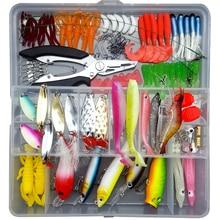 Fishing Lure Set Hard Crank Popper Minnow Spinners Spoon Bait Pliers Soft Worm Squid Jig Gear Accessories