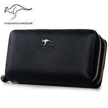Kangaroo Kingdom Women Wallets Genuine Leather Long Purse Clutch Bags Brand Female Wallet