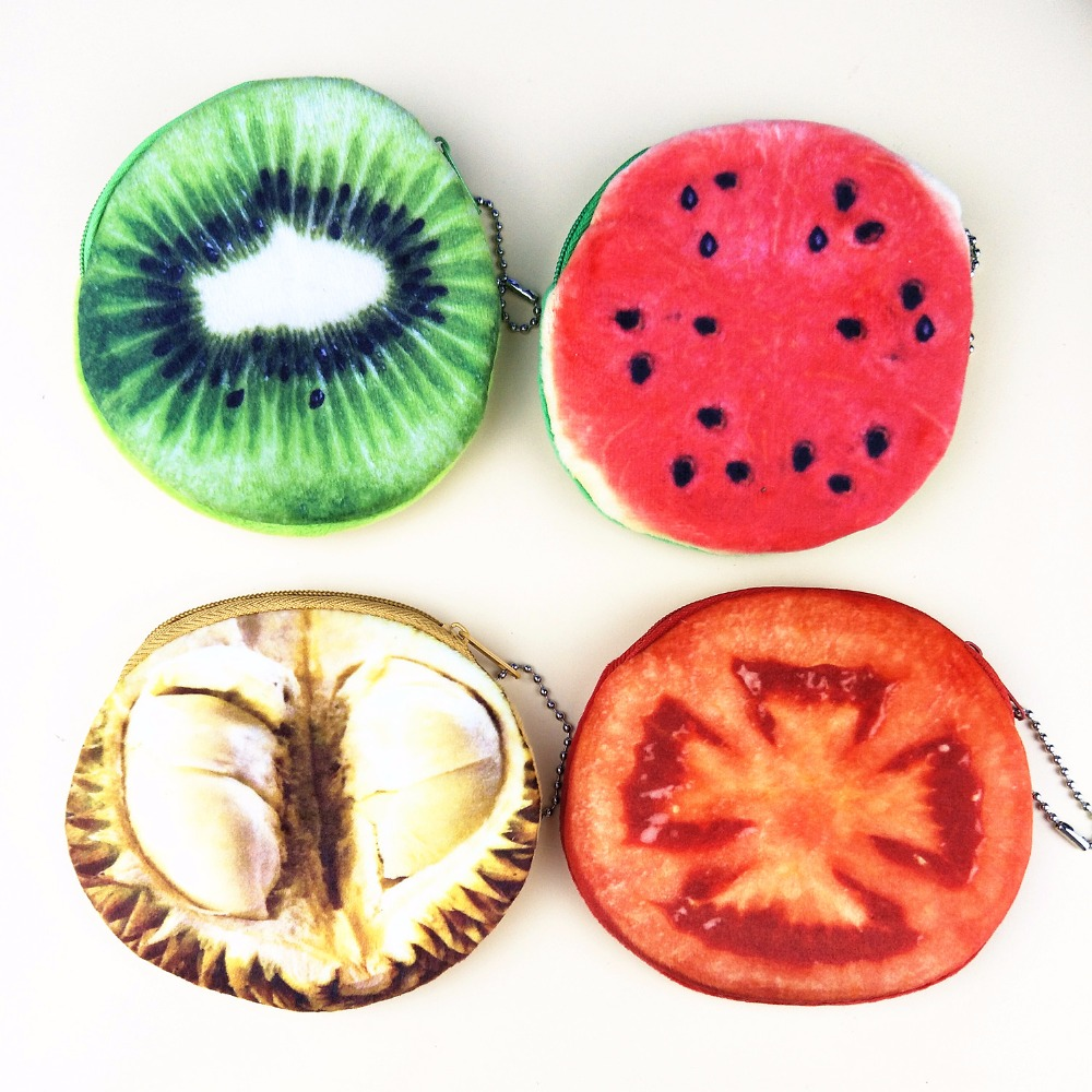 M176 2017 Fruit Design Women Purses Small Fresh Fruit And Vegetable Pie The Lure Of Good Food Plush Coin Purse Wallet Card Bag women and food