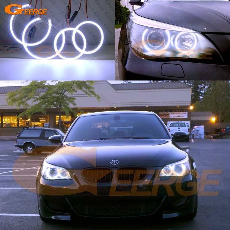 For BMW E60 E61 525I 530I 540I 545I 550I M5 2003-2007 Xenon Headlight Excellent Ultra bright illumination COB led angel eyes kit for bmw e60 e61 lci 525i 528i 530i 535i 545i 550i m5 xenon headlight excellent drl ultra bright smd led angel eyes kit