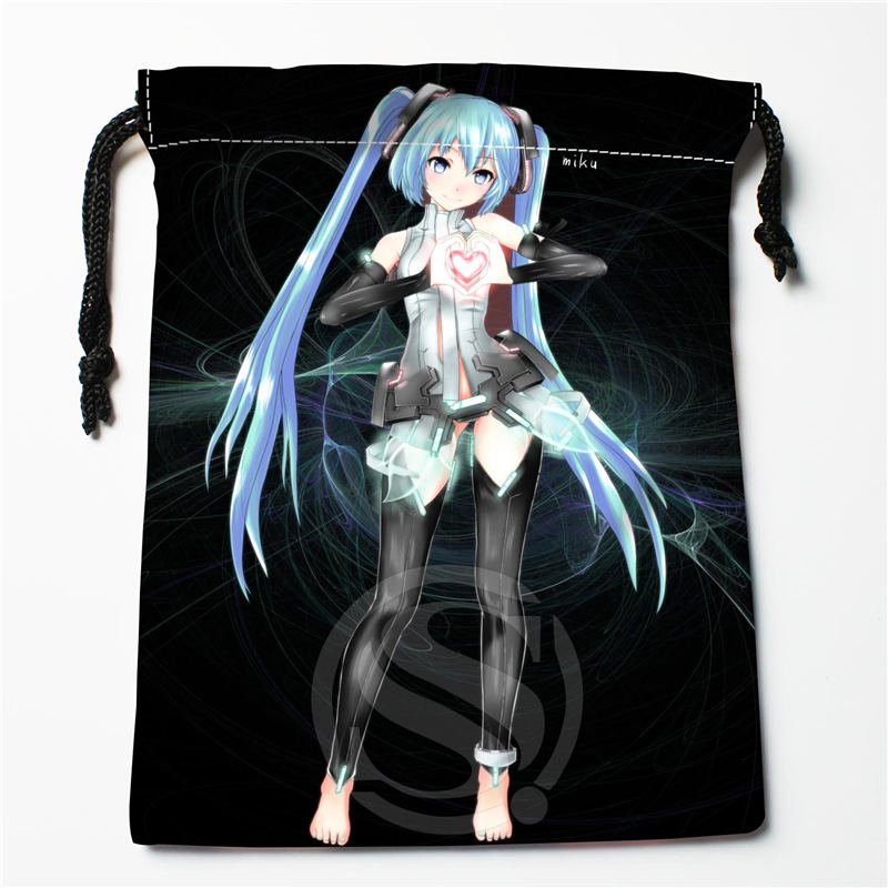 E-175 New Anime Hatsune Miku &S Custom Logo Printed  Receive Bag  Bag Compression Type Drawstring Bags Size 18X22cm R801R175TD